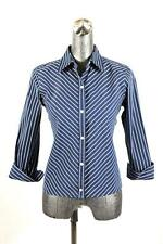 womens blue striped RALPH LAUREN button down shirt top blouse cotton SMALL
