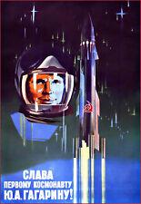 Russian 1961 Space Race Astronaut Rocket  Soviet    Russia  Poster Print