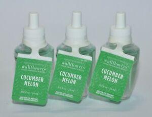 LOT OF 3 BATH & BODY WORKS CUCUMBER MELON WALLFLOWER REFILL BULB PLUG IN GREEN