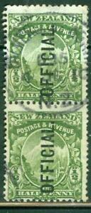New Zealand. 1907. ½d. Mt Cook. Official. Pair. BOB. U.