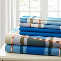SHEET SET QUEEN 6 PIECE COTTON PERCALE PRINT SOFT DEEP POCKET  FREE WASH CLOTH