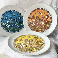 Vintage Mid Century Butterfly Plates Royal Crown Harmony Plates Set Of 3