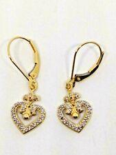 14K Yellow Gold Diamond Heart Dangle Earrings