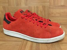 RARE🔥 Adidas Stan Smith Red Suede White Sz 12 M17155 Originals Retro Sneakers
