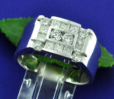 14k Solid White Gold 1.40 ct Mens Men's Diamond Ring 8.5 grams Made in USA
