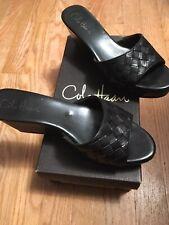 Cole Haan NIKEAIR Black Wedge Sandals Weave Peep Toe Slides Slip-on Size 8