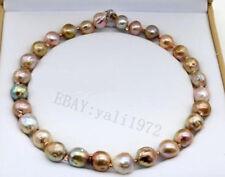 New ! 13-14MM natural multicolor south sea baroque Pearl necklace 18 inch