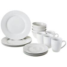 16Pc Dinnerware Dining Set Modern White Porcelain Dinner Dessert Plate Bowl Mug