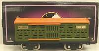 MTH 10-1087 513 Standard Gauge Cattle Car   Green and orange with brass trim