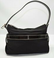 Tod's Designer Black Nylon Patent Leather Trim Small Zip Hobo Baguette