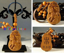 Chinese classical fine wooden carving zodiac dog key chain