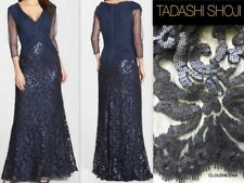384c1f971b8d Tadashi Shoji 3/4 Sleeve Pintuck Skirt Embroidered Lace Top Dress Sz 2 Navy