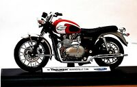 Welly 2002 Triumph Bonneville T100 1:18 Scale Model Motorcycle High Quality NEW