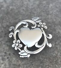 Retired James Avery Sterling Silver Heart And Flowers Brooch