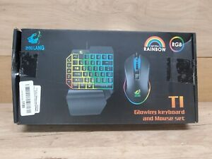 T1 One-Handed Gaming Keyboard & Mouse RGB Led Backlit USB Wired New Open Box