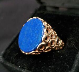 Heavy Vintage 14k Gold Brutalist Lapis Lazuli Signet Ring ~ Sz 7.5 ~ 14.6 grams