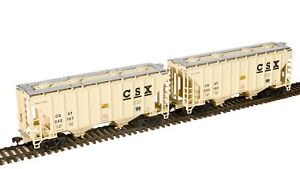 Walthers HO Trinity 100 Ton Cement Covered Hopper CSX (2 PK) Freight Cars