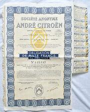 Obligation de 1000 Francs de 1936 Société Anonyme André Citroën