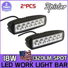 "2X 6"" inch 18W Spot LED Work Fog Light Bar Truck Boat Driving Offroad Single Row"