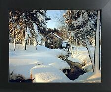 Wayside Inn Mill - Winter Landscape Nature Scenery Wall Decor Art Framed Picture