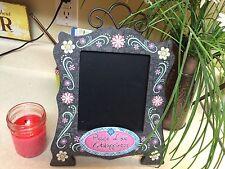 peace love & happiness pink & black devorative chalkboard