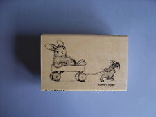 HOUSE MOUSE RUBBER STAMPS HAPPY HOPPERS WAGON RIDE NEW wood STAMP