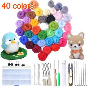 1 Set 40 Colors Wool Felt Needles Tools Needle Felting Mat Starter DIY Kit Hot