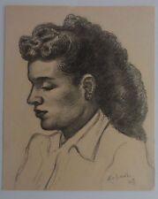 Alois Erbach: Frauenportrait - Signierte Original  Bleistiftzeichnung von 1948