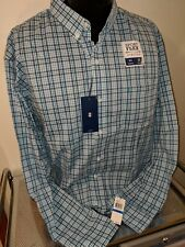 Izod Gingham Stretch Button Front Shirt, NWT,  XLarge