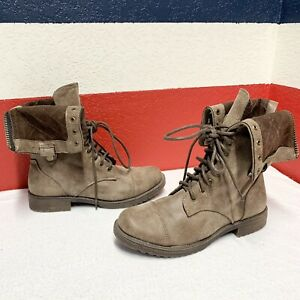 DollHouse Women's Mid Calf Boots Lace Up Biker Military Combat Ankle wood Shoe