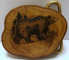 VTG Wooden Bear in the Woods Belt Buckle Brown Forest Conservation Brown Trees