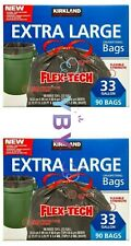 2 Packs Kirkland Signature Trash Drawstring Bags 33 Gallon 90 CT