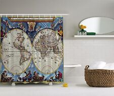 Blue Antique Vintage World Map Globe Fabric Shower Curtain Digital Art Bathroom