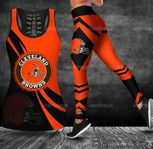 Cleveland Browns 2PCS Tank Top Leggings Women's High Waist Stretch Yoga Pants