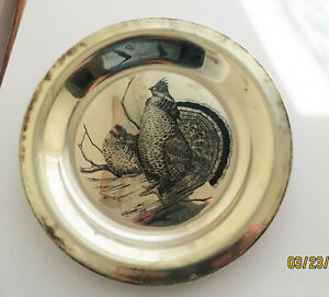 """NATIONAL AUDUBON SOCIETY THE RUFFED GROUSE STERLING SILVER 8"""" PLATE"""