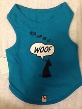 """Bailey and Bella Dog Blue Tee Shirt """"you had me at woof"""" 100% cotton Size - S"""