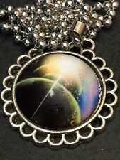 "Celestial Mars Green Charm Tibetan Silver with 18"" Necklace C34"