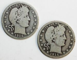 2 Coin Lot 1915 & 1915 D Silver Barber Quarters 25c US Type Coins Circulated YG