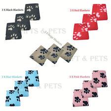 Set of 3 X SOFT COSY WARM FLEECE PAW PRINT PET BLANKET DOG PUPPY ANIMAL CAT BED