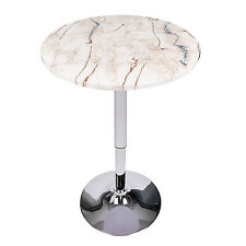 24'' Bar Table Adjustable Marble Round Swivel Chrome Top Indoor Outdoor Patio US