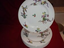 """6 Guerin/Limoges GUE705 8 1/2"""" Plates, Floral pattern w/Bird, no chips or cracks"""