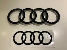 """Audi Emblem """"Ringe"""" schwarz glänzend vorne+hinten A6,A8,Q3,Q5,Q7"""