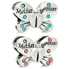Butterfly Mother Daughter Antique Silver Charms  European Bracelets