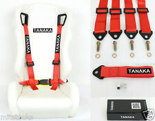 "1 TANAKA UNIVERSAL RED 4 POINT BUCKLE RACING SEAT BELT 2"" + TOW STRAP 8000 LBS"