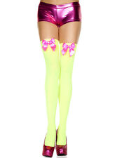 Thigh Hi w/Satin Bow Opaque Nylon Stockings High Trouser Sock Costume/Halloween