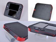 Black Carbon Fiber Vinyl Decal Skin Sticker Case for Nintendo 2DS