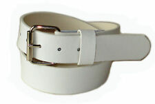MENS WOMAN WHITE SNAP-ON BELT WITH JEAN BUCKLE XXL 42