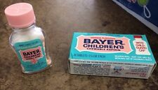 Vintage Glass Bayer Childrens Aspirin Bottle Medical Container w/original Box