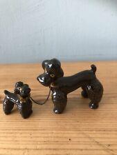 2x Schöne Pudel Vintage Figurinen/Sammelobjekt Süße Mum & Welpe Hunde Ornamente