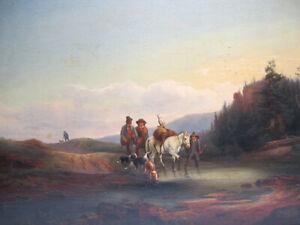 Antique 19th C Oil Painting Returning Hunters School Richard Ansdell or Goya yqz